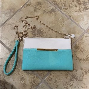 Blue and white purse